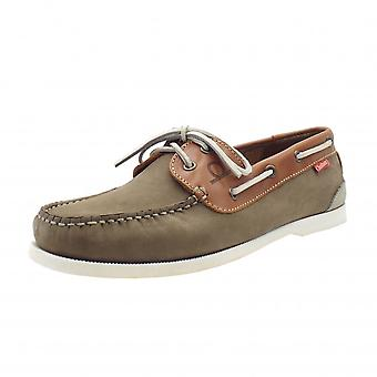 Chatham Galley Ii Men's Leather Boat Shoes In Khaki
