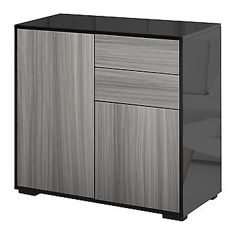 HOMCOM High Gloss Sideboard Push-Open Design with 2 Drawer for Living Room, Bedroom, Light Grey and Black