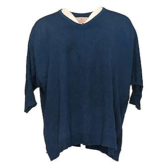 Laurie Felt Women's Sweater Silky Bamboo Pullover Relax Fit Blue A385318