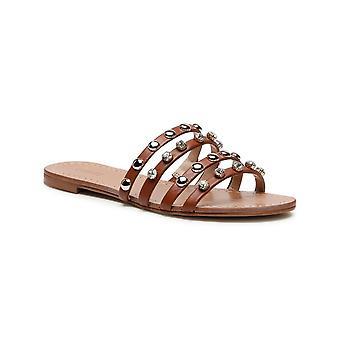 Shoes Guess Sandalo Cevan Ecopelle Cognac Con Strass Ds21gu20 Fl6c2vlea19