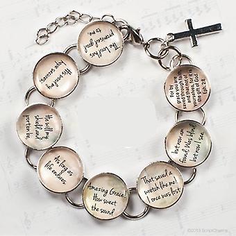 Amazing Grace Hymn & Scripture Glass Charm Bracelet
