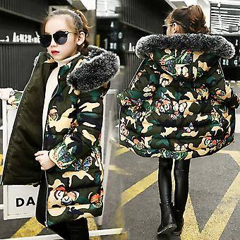 Fur Coat- Russian Winter Warm Hooded, Thick Cotton-padded, Long Korean Jacket