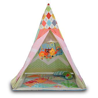 Moni Children's Tent Tipi, 2 in 1 Kruip deken Mobiele Kussen Net Window van 6 maanden