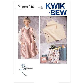 Kwik Sew Sewing Pattern 2191 Misses Aprons Bags Two Sizes Uncut