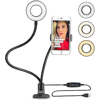 Selfie Ring Licht (Schwarz) dimmbar 3 Leuchtmodi und 10 Helligkeiten Stufen,Fr YouTube, Facebook,