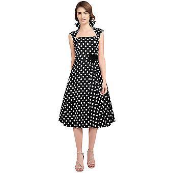 Chic Star Plus Size Polka-Dot Bælte Plisse Kjole i sort / prikker