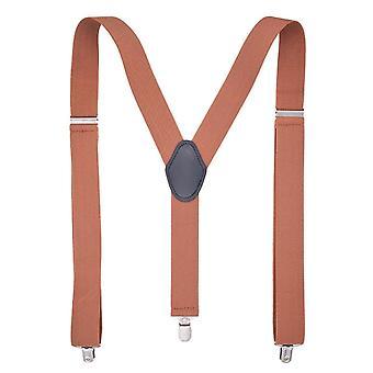 Pánské jednobarevné nastavitelné elastické popruhy typu Y pro košile, velikost: 125 x 3,5 cm (káva)