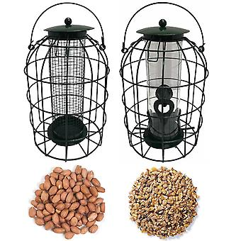 1 x Pair of Simply Direct Squirrel Resistant Guard Nut and Seed Feeders with 1KG bag of Mixed Seeds and 1KG Bag of Peanut Wild Bird Feed