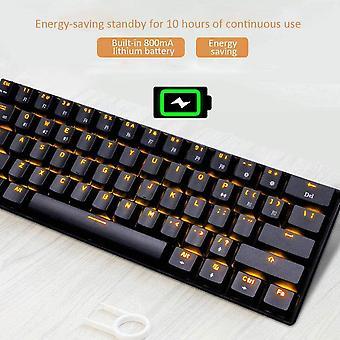 gaming tastatur, rk61 dual-mode bluetooth mekanisk tastatur (kablede / trådløse), med LED baggrundsbelysning, standby i 360 timer, til computer, mobiltelefon, tablet (hvid)