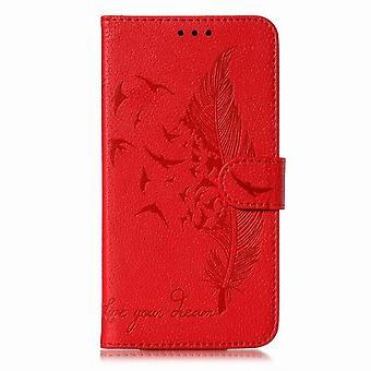 Skórzany futerał na wzór Pióro do Samsung Galaxy J6 2018 - czerwony