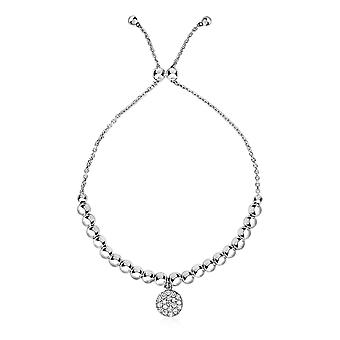 Adjustable Bead Bracelet with Round Charm and Cubic Zirconias in Sterling Silver Sterling silver 9.25