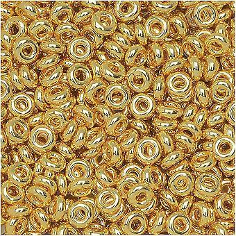 Toho Demi Pyöreät siemenet, Ohut 8/0 (3mm) Koko, 7,4 grammaa, #712 metallinen kulta