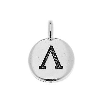 Final Sale - TierraCast Greek Alphabet Charm, Lambda Symbol 16.75x11.75mm, 1 Piece, Antiqued Silver Plated