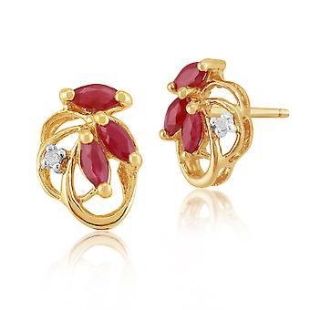 9ct желтого золота 0.45ct природных Ruby & Diamond цветочные Стад Серьги