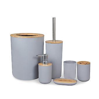 Bathroom Accessories Set 6 Pieces Holder Trash Can Bathroom Essential Set Bath Hardware Sets(Gray)