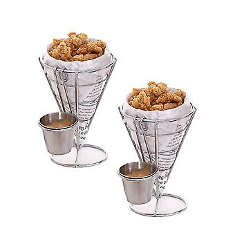 2 Set French Fry Stand Holder Chip Appetizer