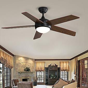 Ventilateur de plafond brun de 52 pouces avec kit d'éclairage LED, 5 lames et télécommande