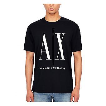 Armani Exchange A x Stor Logotyp Mens T-shirt Navy