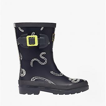 Joules Welly Print Boys Gummi Tall Wellington Boots Grå Worms