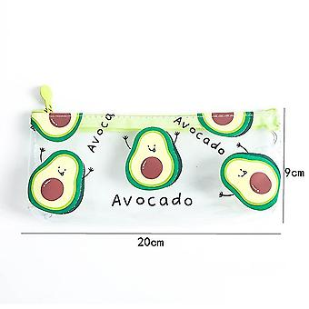 Avocado transparent PVC pencil case ins style simple stationery bag for elementary and middle school