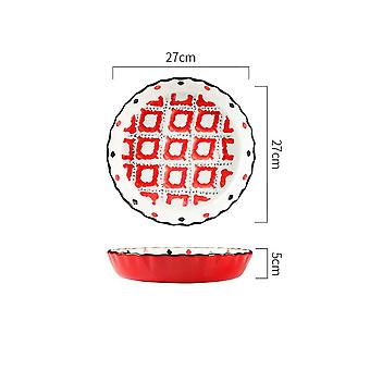 Big Baking Tray CeramicPie Baked Pizza Plate 10(red)