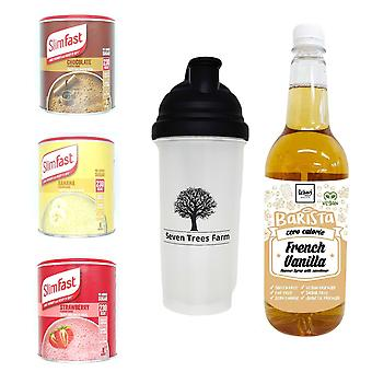 Seven Trees Farm Kit met 5 producten | 1 x Choco, 1 x Banana, 1 x Strawberry Shakes, 1 x Shaker en 1 x French Vanilla Coffee Syrup, Wees mager en gezond!