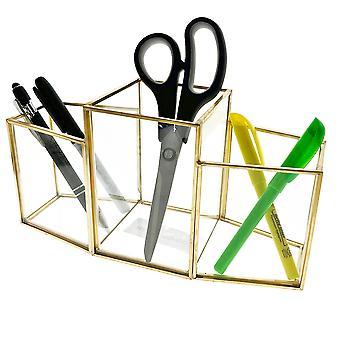OnDisplay Priscilla 3 Section Deluxe Glass/Golden Steel Cosmetic/Desktop Organizer - Perfect for Vanity, Bathroom, Office, or Desktop - Classic Versatile Organizer