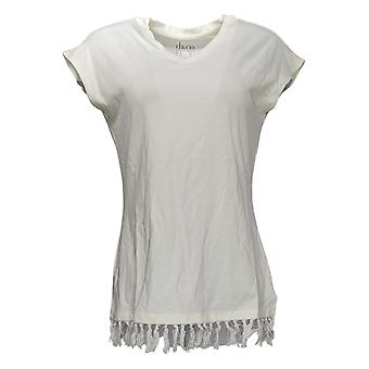Denim & Co. Women's Top Regular Jersey V-Neck Hem Detailing White A378164