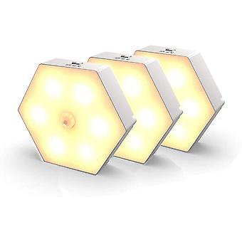 Światło nocne z czujnikiem ruchu, światło ruchu z baterią, automatyczne włączanie / wyłączanie światła nocnego (ciepły biały)