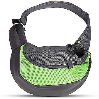 Dog Sling, Cat Pet Dog Carrier Bag Adjustable Shoulder Bag Breathable Mesh Carrier Bag - Fits Puppies Under 5kg, 37 X 29 X 25cm (l, Green)