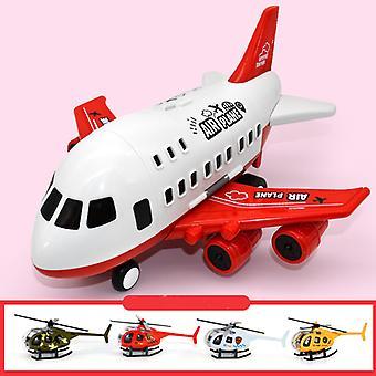 Grand modèle de jouet d'avion pour enfants rouge avec hélicoptère en alliage 4pcs