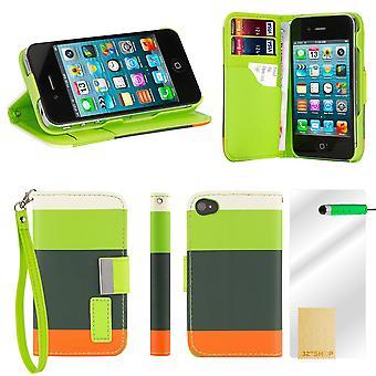 Multiple Stripe wallet case + stylus for Apple iPhone 5 5S SE - Green