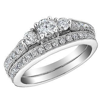 Three Stone Diamond Engagement Ring and Wedding Band Set 1/2 Carat (ctw) in 14K White Gold