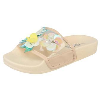 Girls Reflex Flower Embellishment Sliders H0250