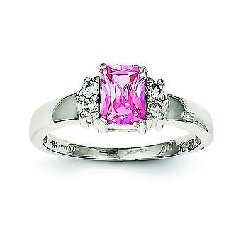 925 zilver gepolijst open rug uitgesneden zijden roze en witte Cubic Zirconia ring-ring grootte: 6 tot en met 8