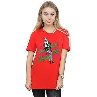 Elf Women's Santa's Coming Boyfriend Fit T-Shirt