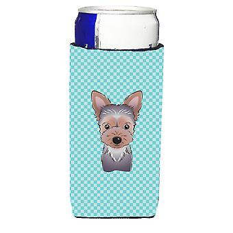 Checkerboard Blue Yorkie Puppy Ultra Beverage Insulators for slim cans
