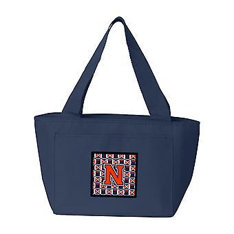 Letter N Football Orange, Blue and white Lunch Bag