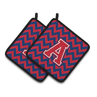 Letter Chevron Yale Blue and Crimson Pair of Pot Holders CJ1054