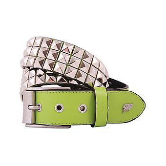 Lowlife Triple S Studded Leather Belt in Neon Green