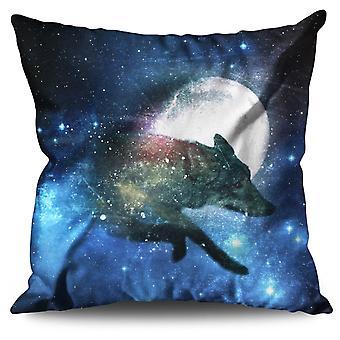 Tierische Wolf Tier Bettwäsche Mond Kissen 30 x 30 cm | Wellcoda