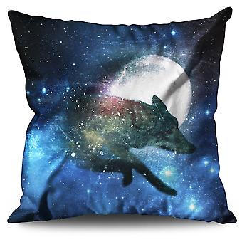 Moon Animal Wolf Beast Linen Cushion 30cm x 30cm | Wellcoda