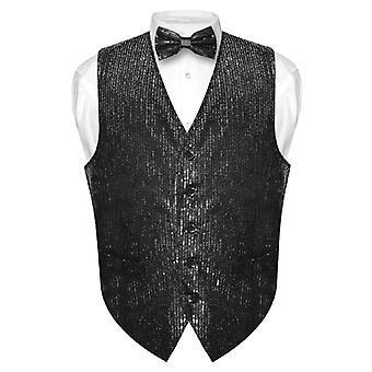 Herren Pailletten-Design Kleid Weste & Fliege BOWTie Set für Anzug Tux