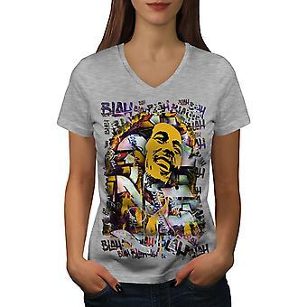 Bob Marley Graffiti Women GreyV-Neck T-shirt | Wellcoda