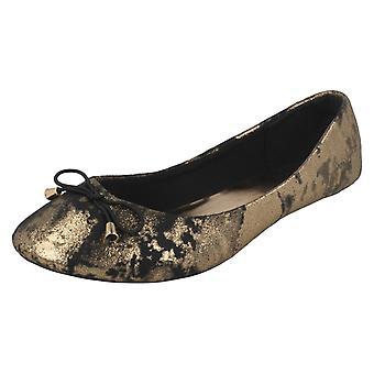 Ladies Spot On Flat Ballerina Shoe with Bow Trim