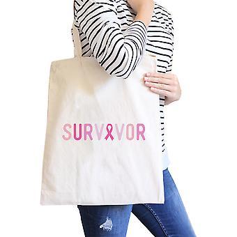 Survivor Natural Graphic Canvas Bag For Breast Cancer Awareness