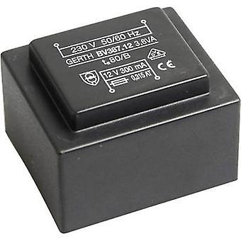 Gerth PTG380801 PCB mount transformator 1 x 230 V 1 x 8 V AC 3.60 VA 450 mA