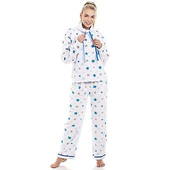 Camille wit superzacht Fleece blauw en grijs sterren Pyjama Set