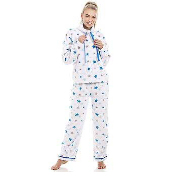 Set pigiama stelle Camille bianco Supersoft in pile blu e grigio