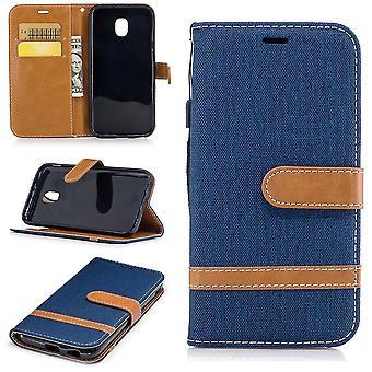 Étui pour Samsung Galaxy J5 2017 jeans couverture téléphone portable housse de protection boîtier bleu foncé